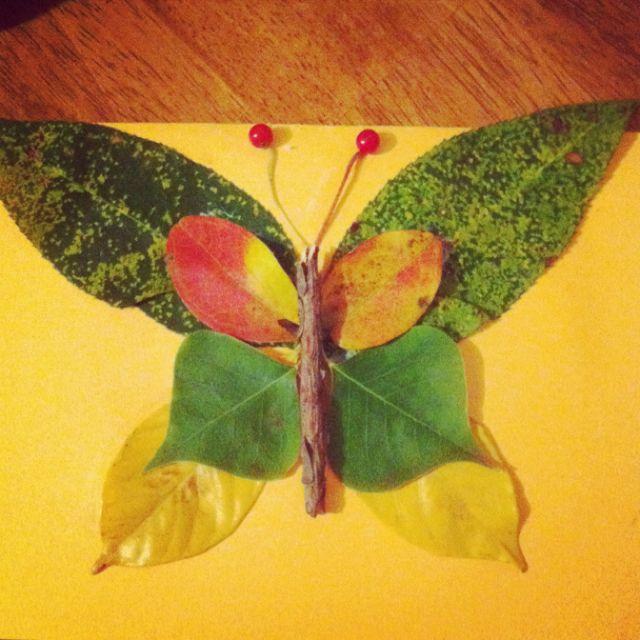 mariposa con hojas