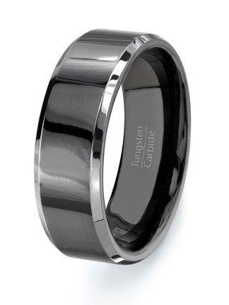 Black Tungsten Ring Wedding band  HIGH QUALITY  by TungstenOmega