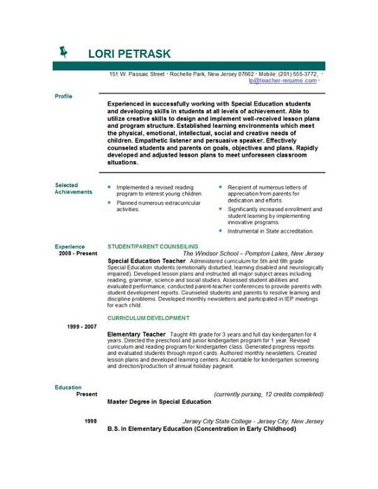 teaching cv objective example of good teacher resume best resume