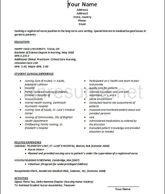 nurse resume examples samples free edit with word sample rn