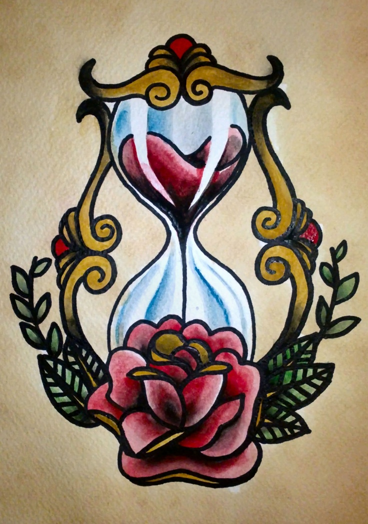 American Traditional Hourglass Vintage tattoos & Designs