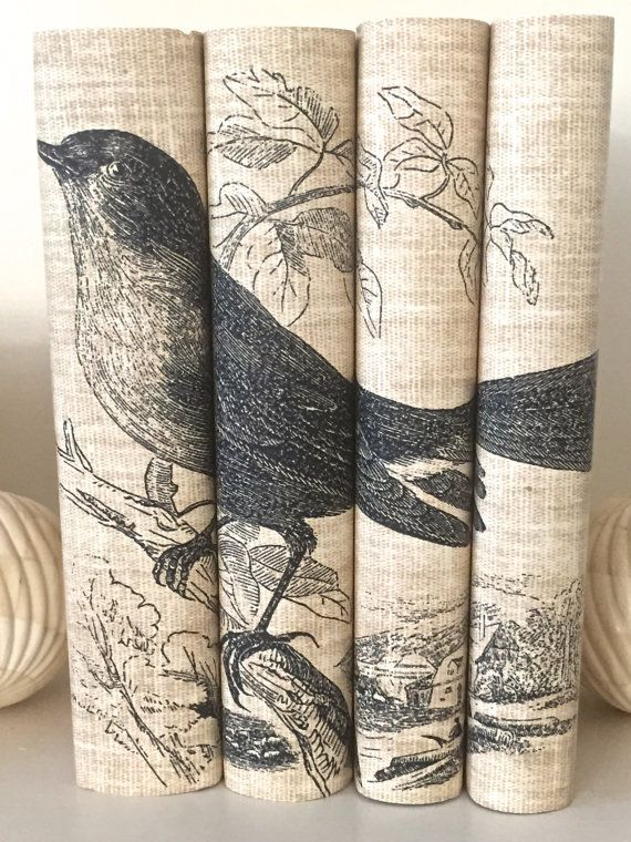 Decorative Books With Bird Book Covers Neutral Color
