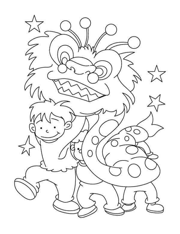 the children celebrate chinese new year coloring page