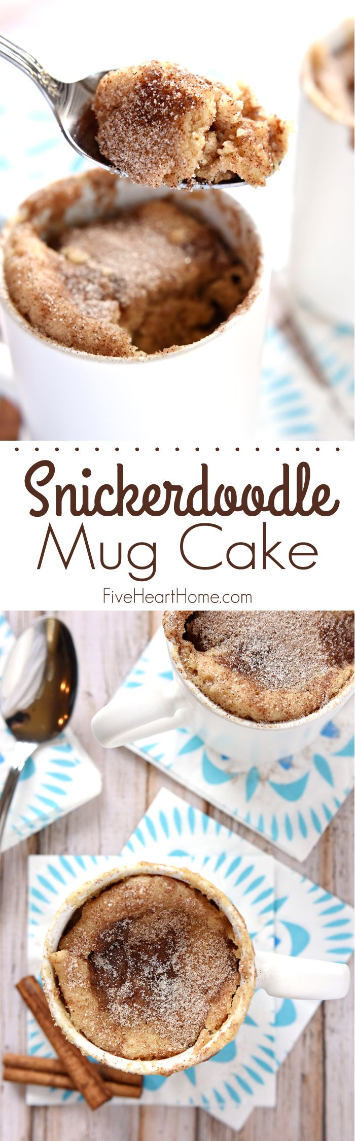 Snickerdoodle Mug Cake by Five Heart Home
