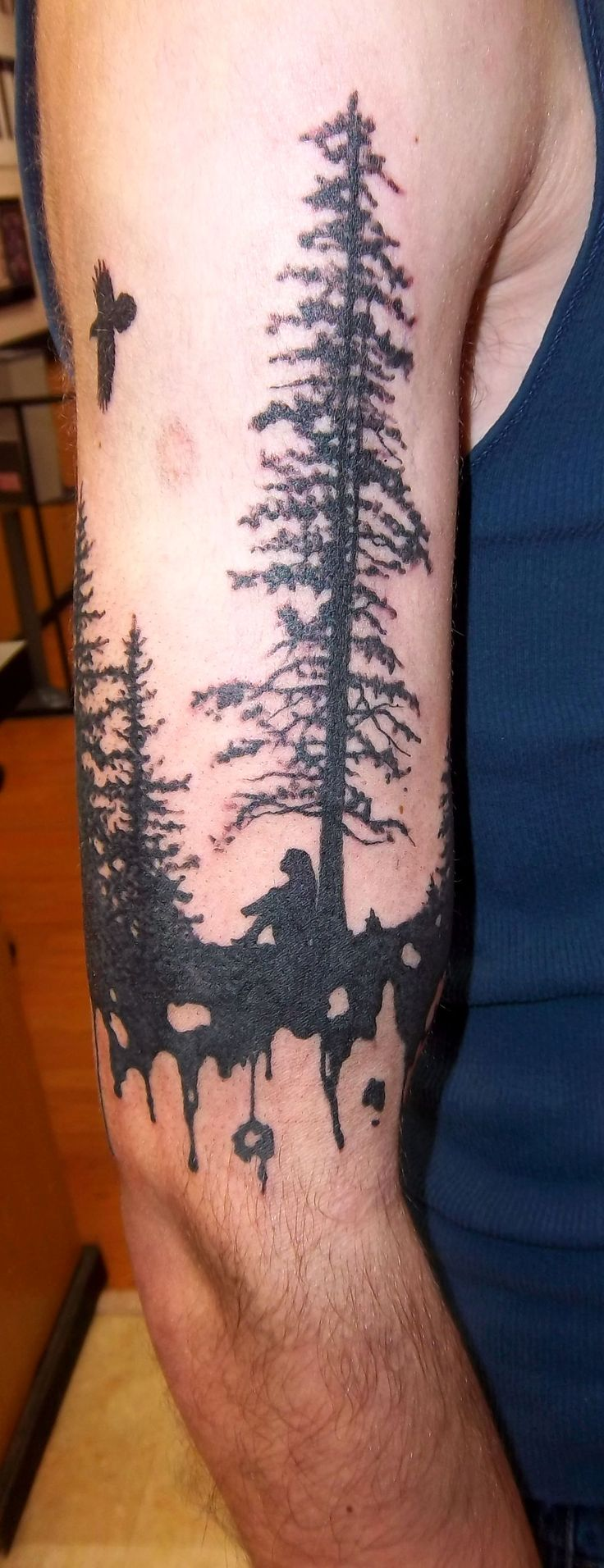 silhouette tree tattoo with a woman under it Holy Roller
