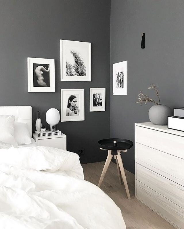 Stylish Grey And White Nordic Style Bedroom The Predominantly Artwork Helps Lighten Up
