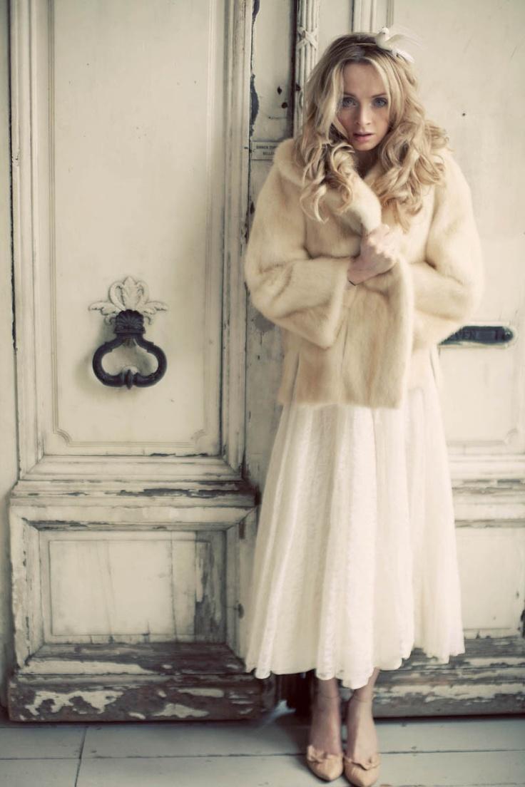 Vintage wedding dress and (faux) fur coat www.devillle
