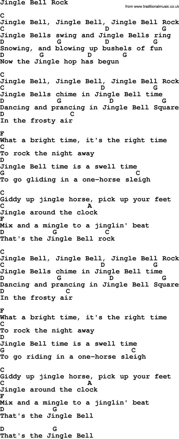 Strait song Jingle Bell Rock, lyrics and chords