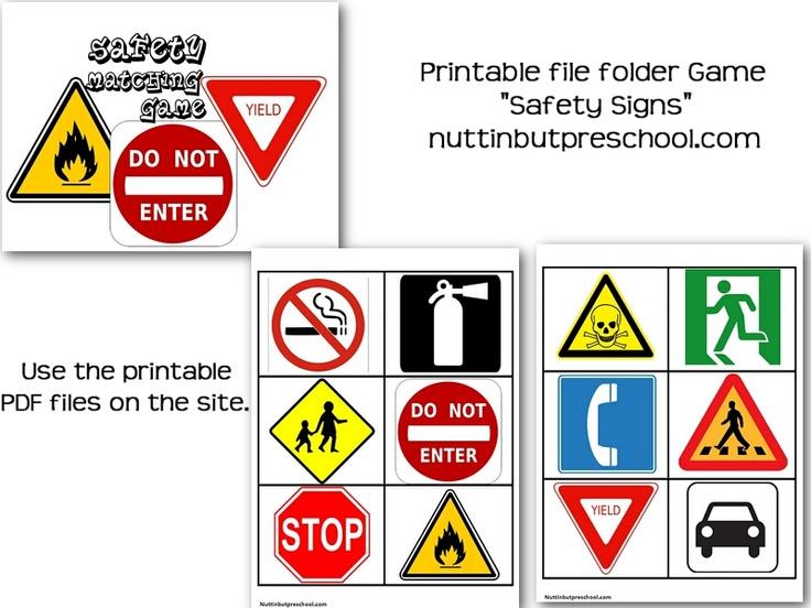 Safety Sign Matching File Folder Game games to make