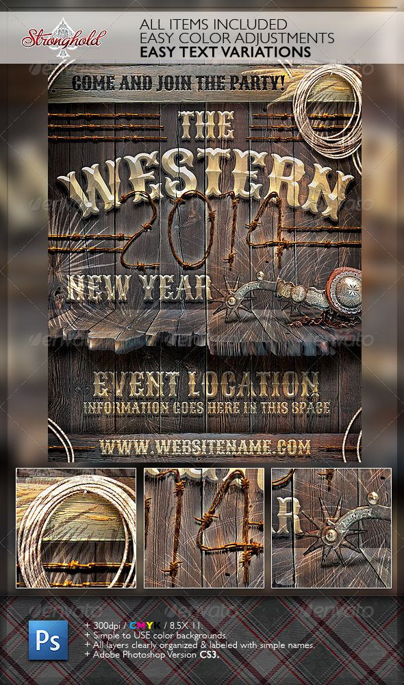 New Year Western Wood Flyer Template Flyer template, New