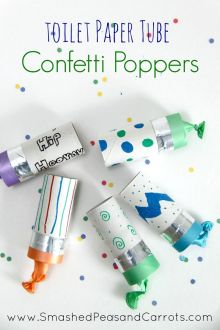 Toilet Paper Tube Confetti Poppers. This would be cute to do for a New Year's Eve party or some other party function where cleaning up isn't your responsibility.: