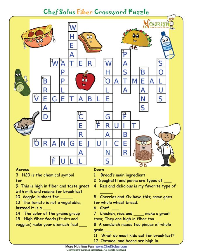 Fiber Answer Key Nutrition Worksheets and Games