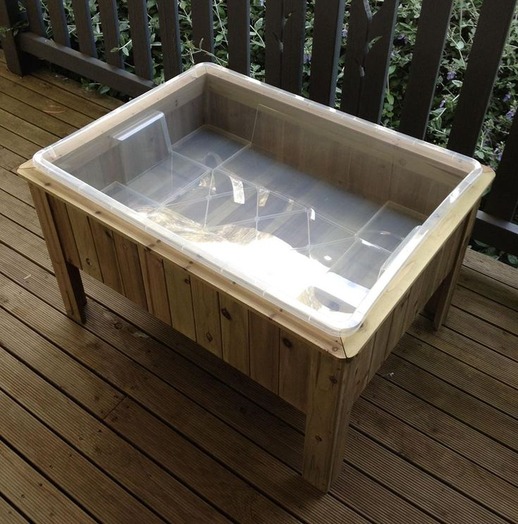 DIY sensory table. Aldi raised garden bed with IKEA tub