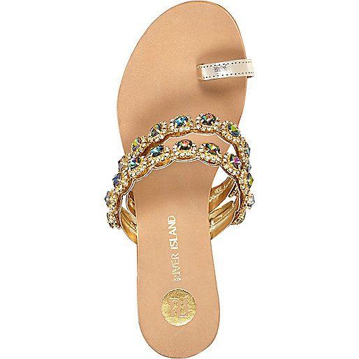 Gold Gemstone Embellished Toe Loop Sandal Shoe Candy