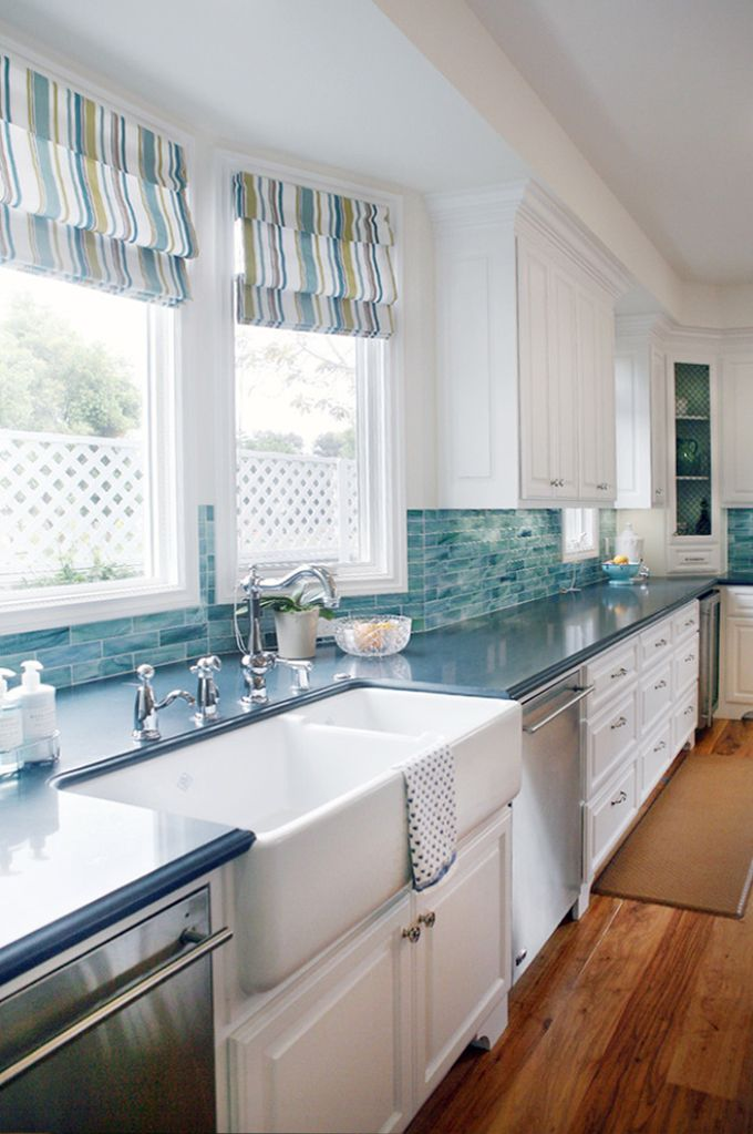 Love the huge double farmhouse sink and the brightness! Maybe not all white – but love!