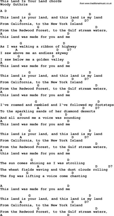 Song Lyrics with guitar chords for This Land Is Your Land ...