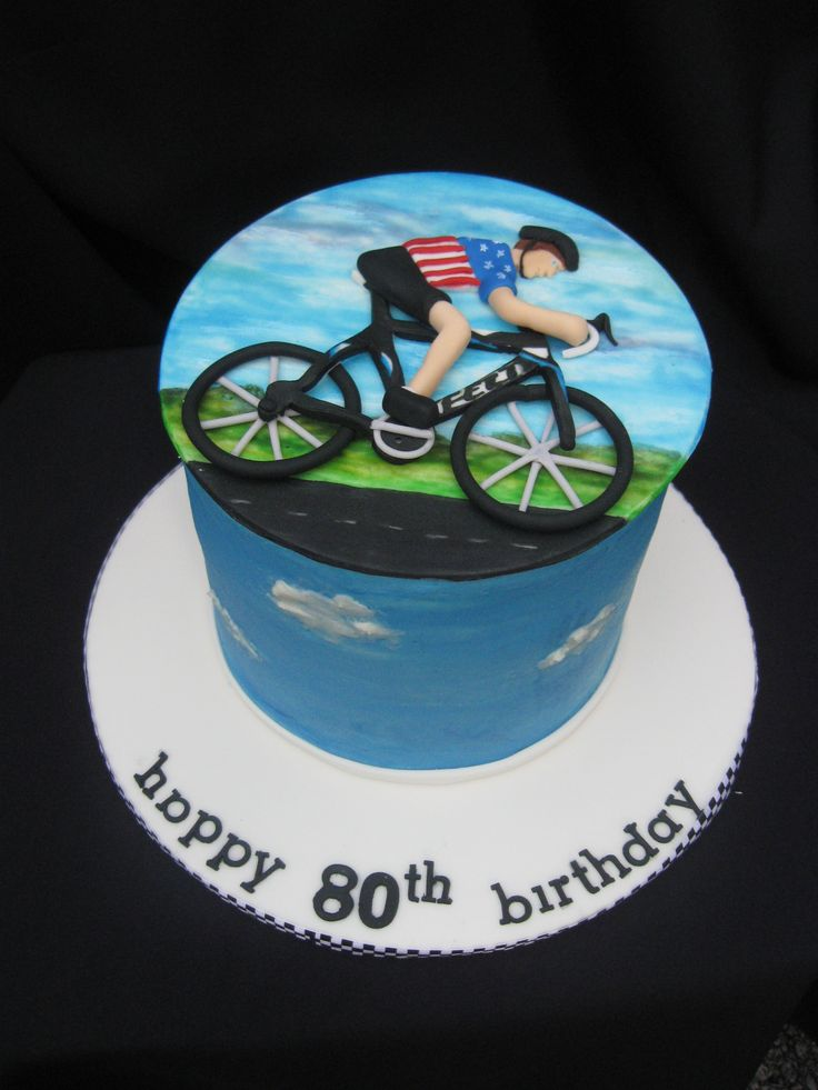 Cyclist Cake Fondant Top Bike And Man Painted With Gel