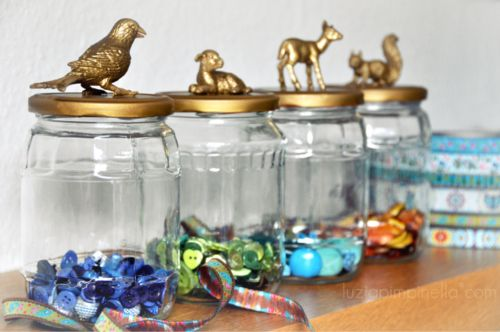 Pimp My Pickle Jars – Plastic animals and gold/bronze paint.  (Way better than m