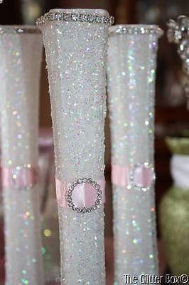 Wedding Glittered Centerpiece White Pink Eiffel Tower Bud