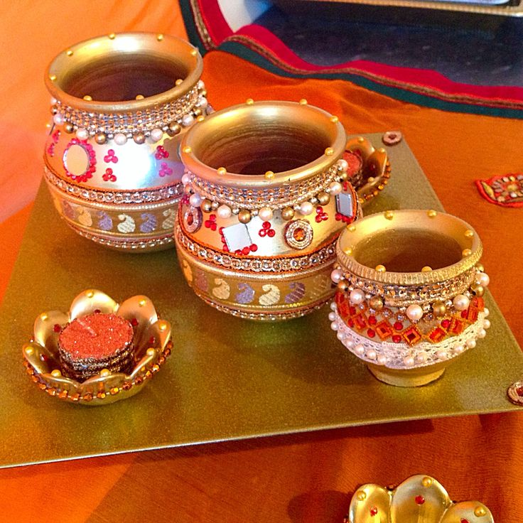A traditional indian gift plate with decorated pots
