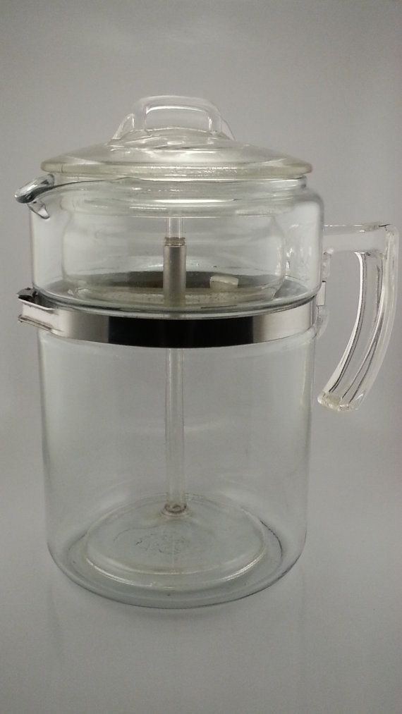 1940s Pyrex Flameware 7829b 9 Cup Glass Coffee Pot By
