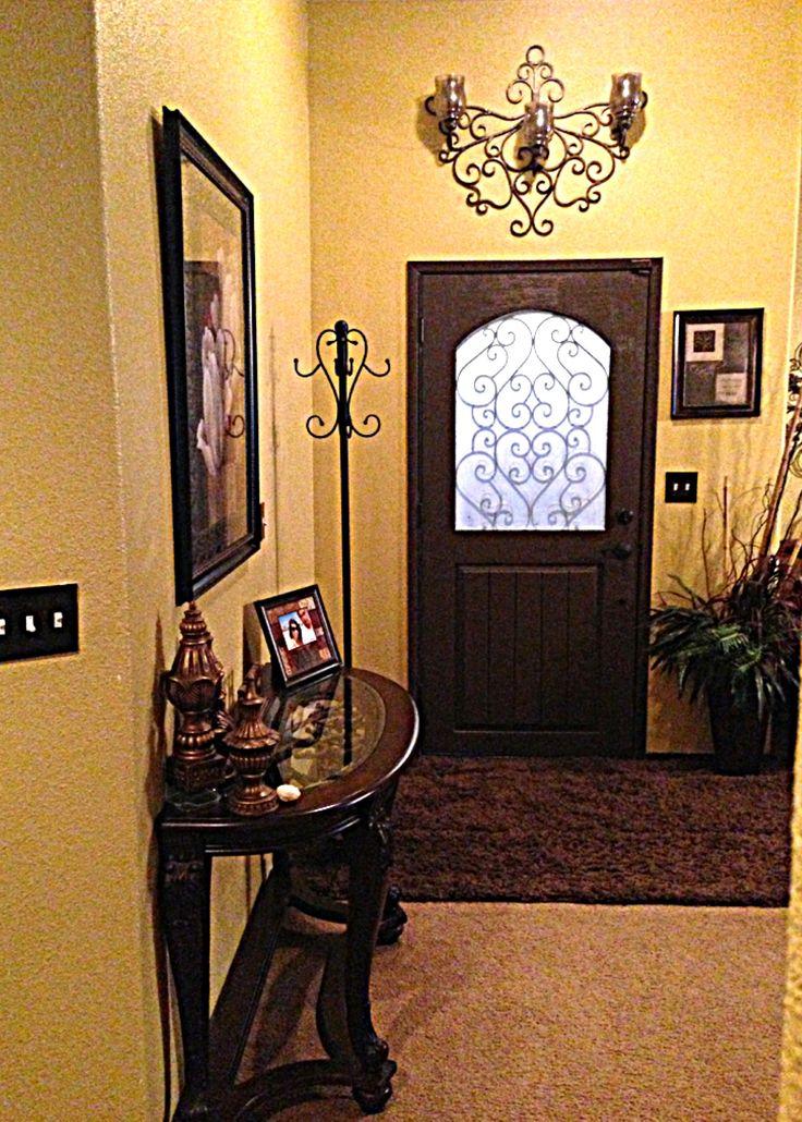Iron Decor Dark Brown Interior Door With Yellow Walls