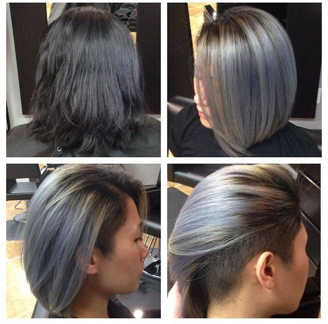 Grey Undercut Bob Hairstyles Pinterest Bobs