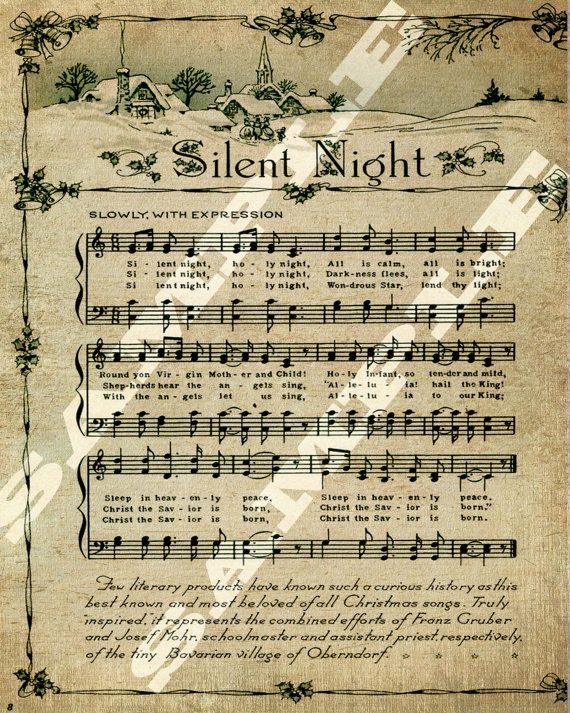 Christmas Holiday Religious Silent Night Sheet Music