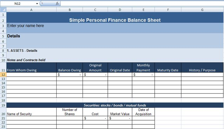 Simple Personal Finance Balance Sheet Template Exceldox