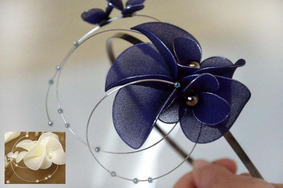 Navy Blue Fascinator Headband Fascinator Wedding Headpiece