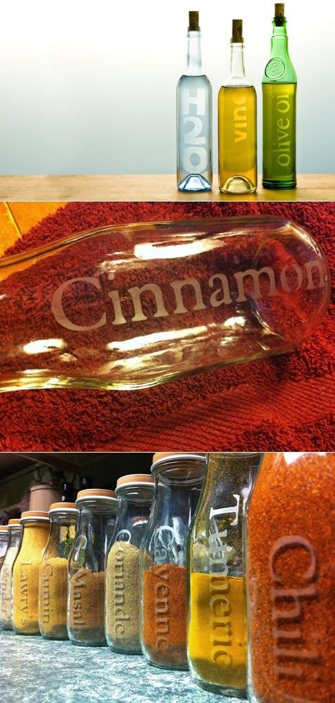 How to Etch Glass Bottles DIY – great idea for organizing my kitchen or as a