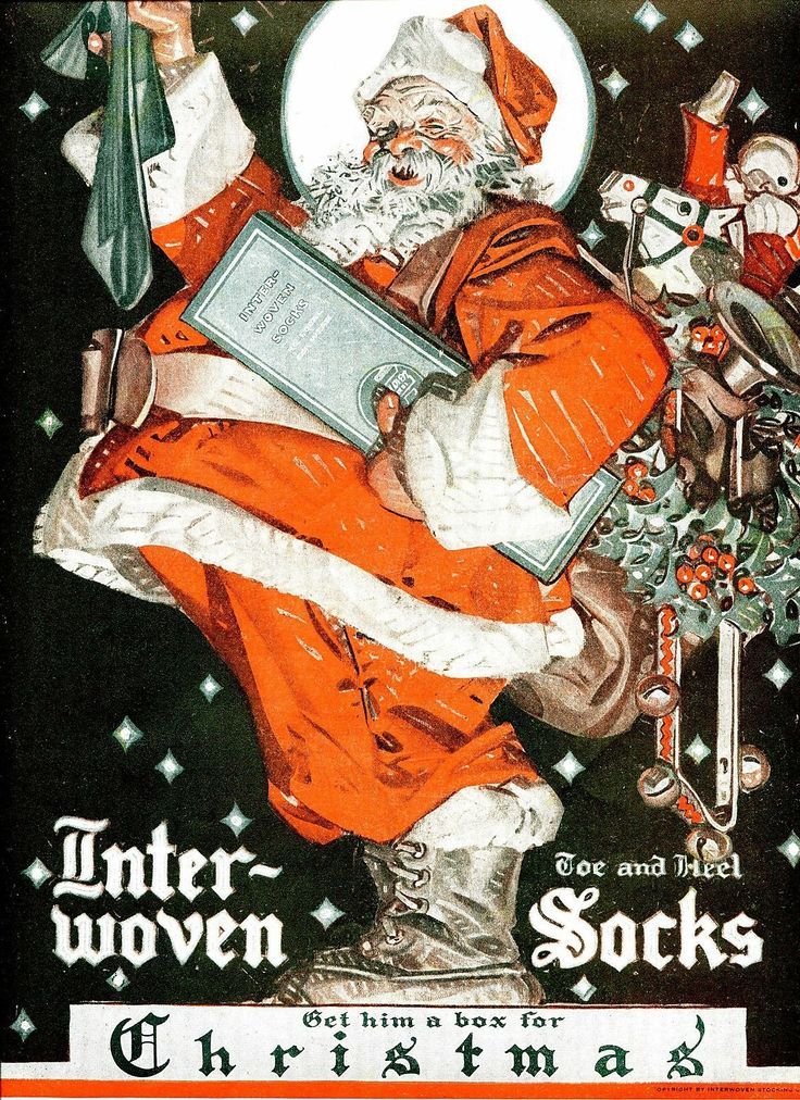 1921 J C Leyendecker Full Length Color Santa Claus Illustr