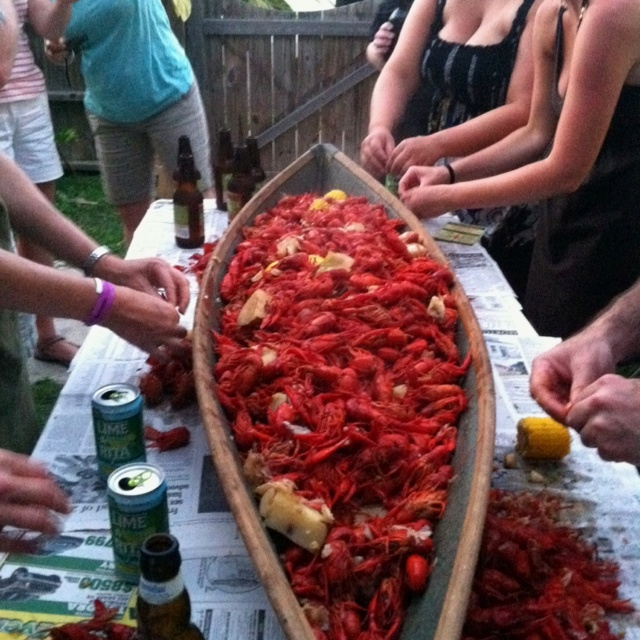 Serving crawfish out of a pirogue is just fun... On The