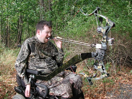Mounted Bow to Wheelchair. For bow hunting season adaptive