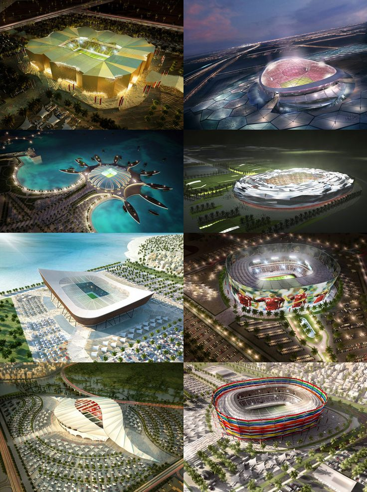 Planned stadiums for FIFA World Cup 2022 in Qatar. soccer