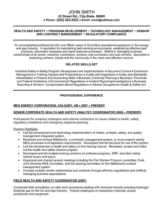 Environmental health and safety cover letter