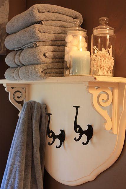 shelf from re-purposed headboard.