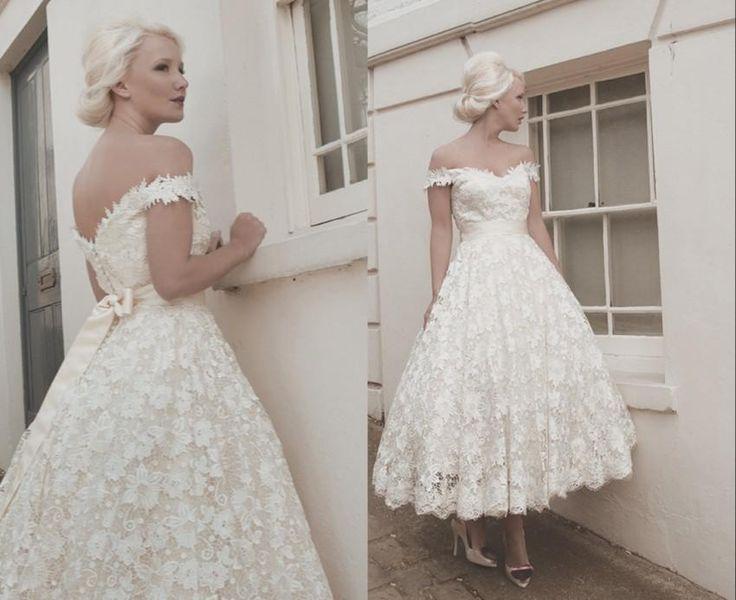 2016 Full Lace Wedding Dresses Custom Size Calf Off