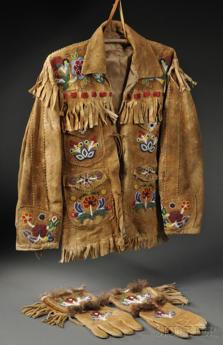 Cree/Athabascan Beaded Hide Coat and Matching Gauntlets, c