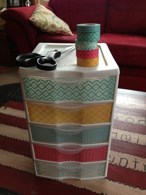 Washi Tape on plastic drawers…may need to do this for office supplies | from My Blissful Space