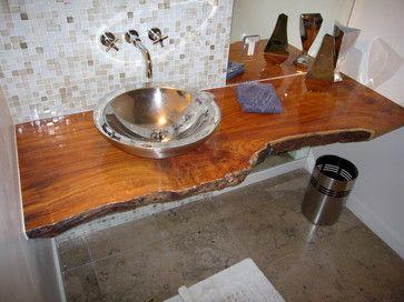 Wood Slab Vanities And Vanity Bathroom On Pinterest