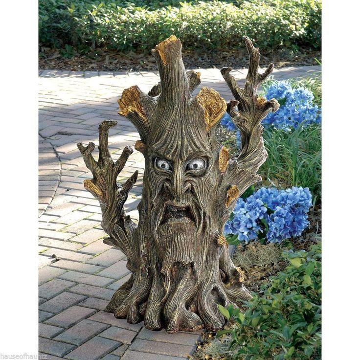 Halloween Bark Forest Face Tree Trunk Statue Decor Yard
