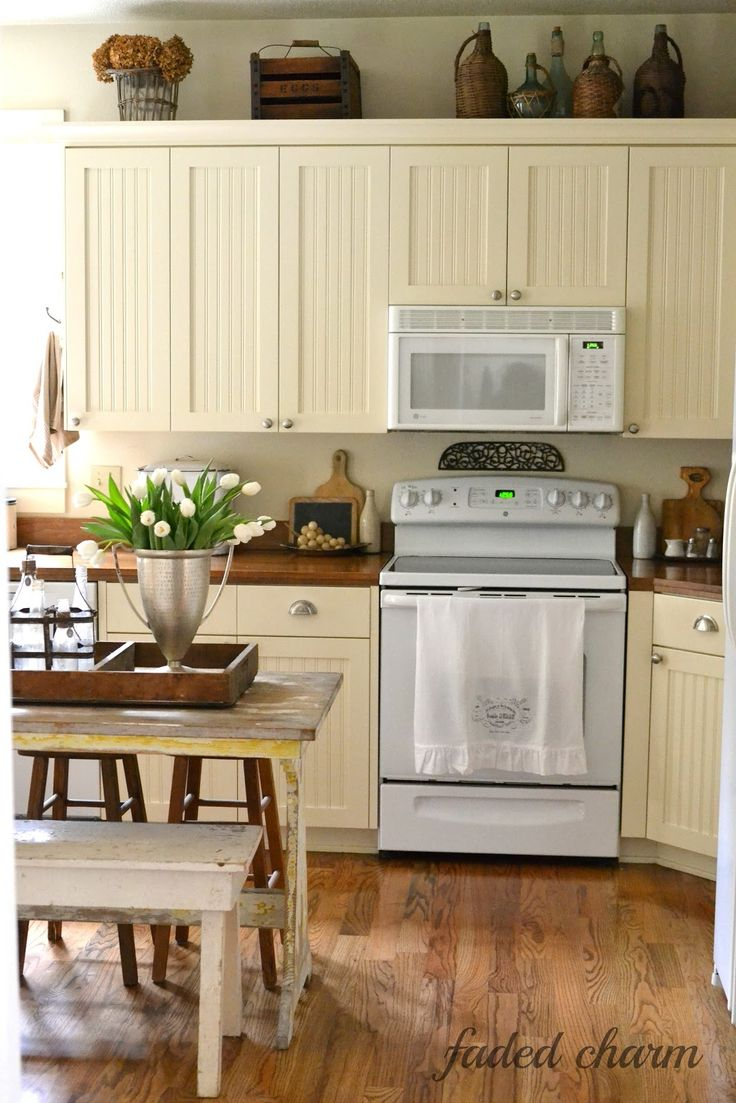 Faded Charm Cream wood counters. I think white