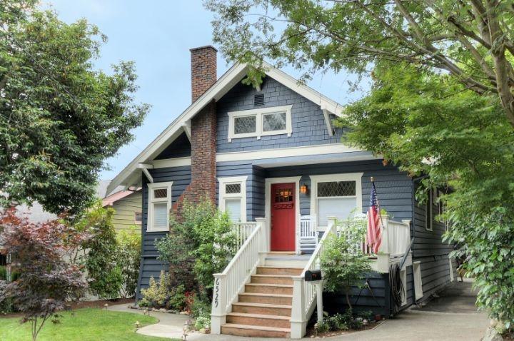 Gray Craftsman House Red Door