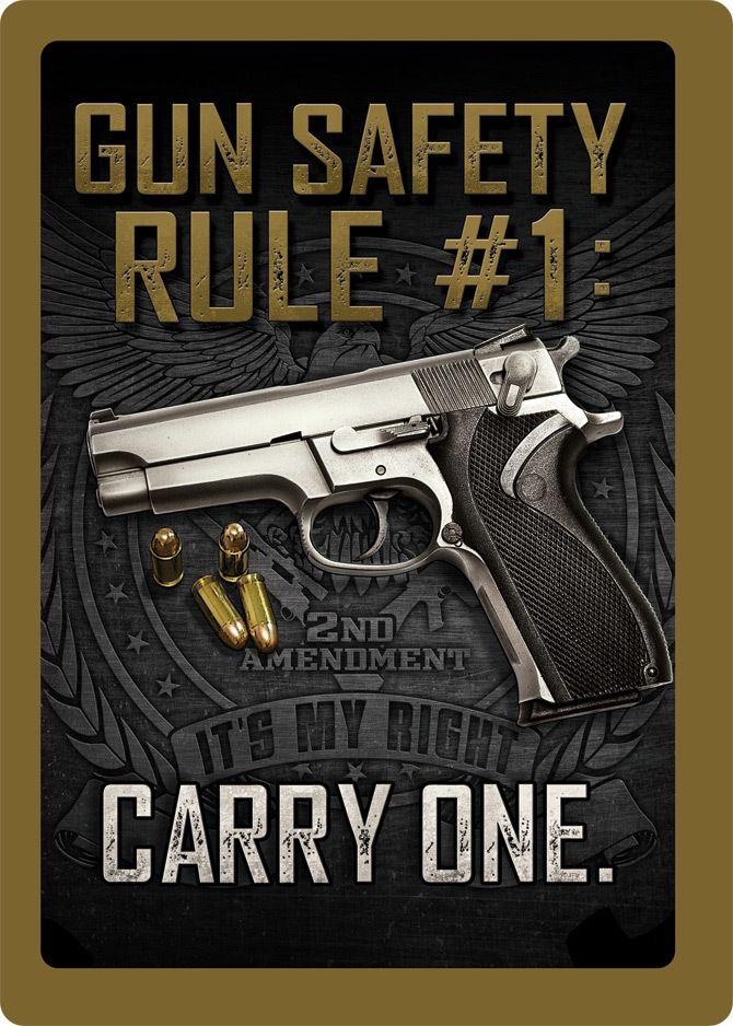 Gun Safety Rule 1 Tin Sign Signs, Guns and Tins