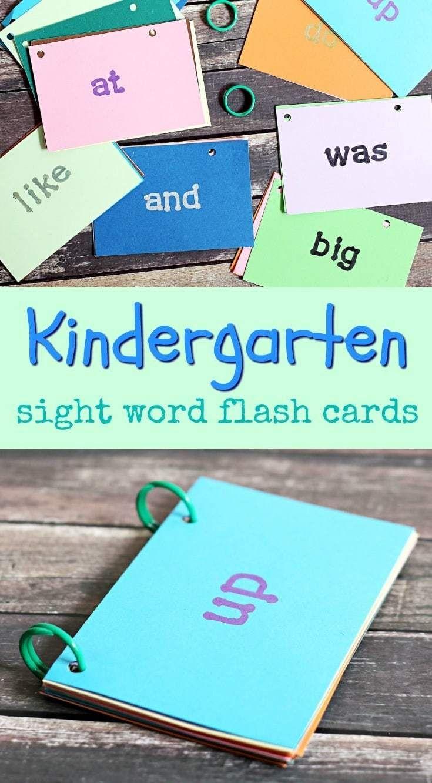 Diy kindergarten sight word flash cards kindergarten