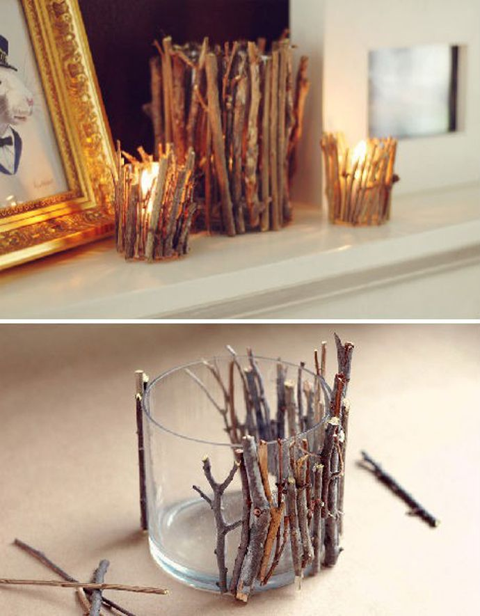 Living Room Christmas Decorations- would like to do for those used Yankee Candle jars….perfect reuse and recycle
