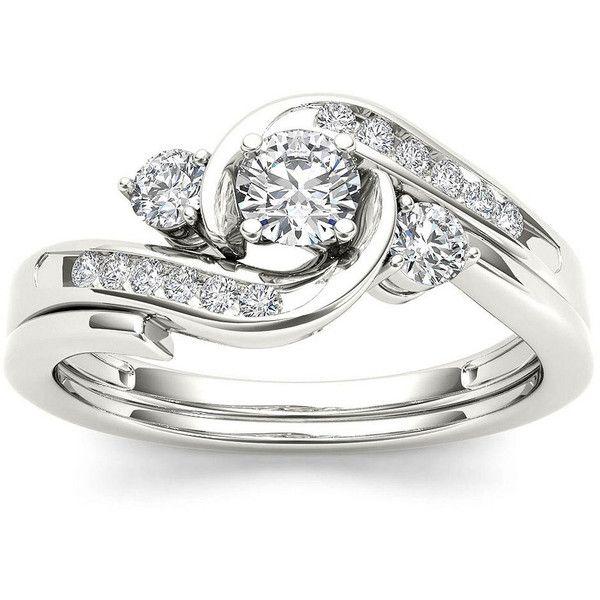 12 CT TW Diamond 10K White Gold 3 Stone Bypass Ring