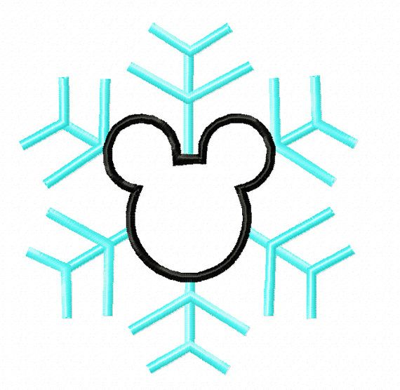 Mickey Mouse Christmas Snowflake Applique By