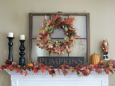 Fall Decorations Mantle Old Window Wreath Leaves Pumpkin Autumn